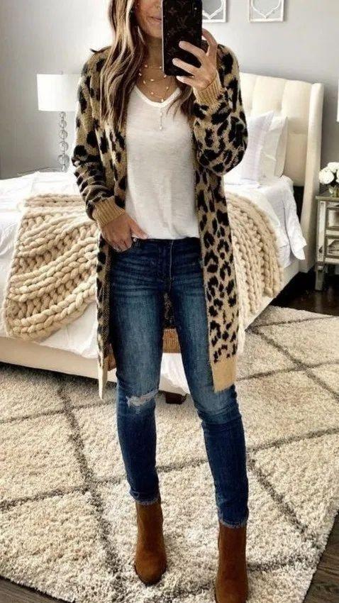 Best Long Cardigan Animal Print Women Outfits